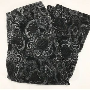 Jones New York Black & Gray Floral Corduroy Pants